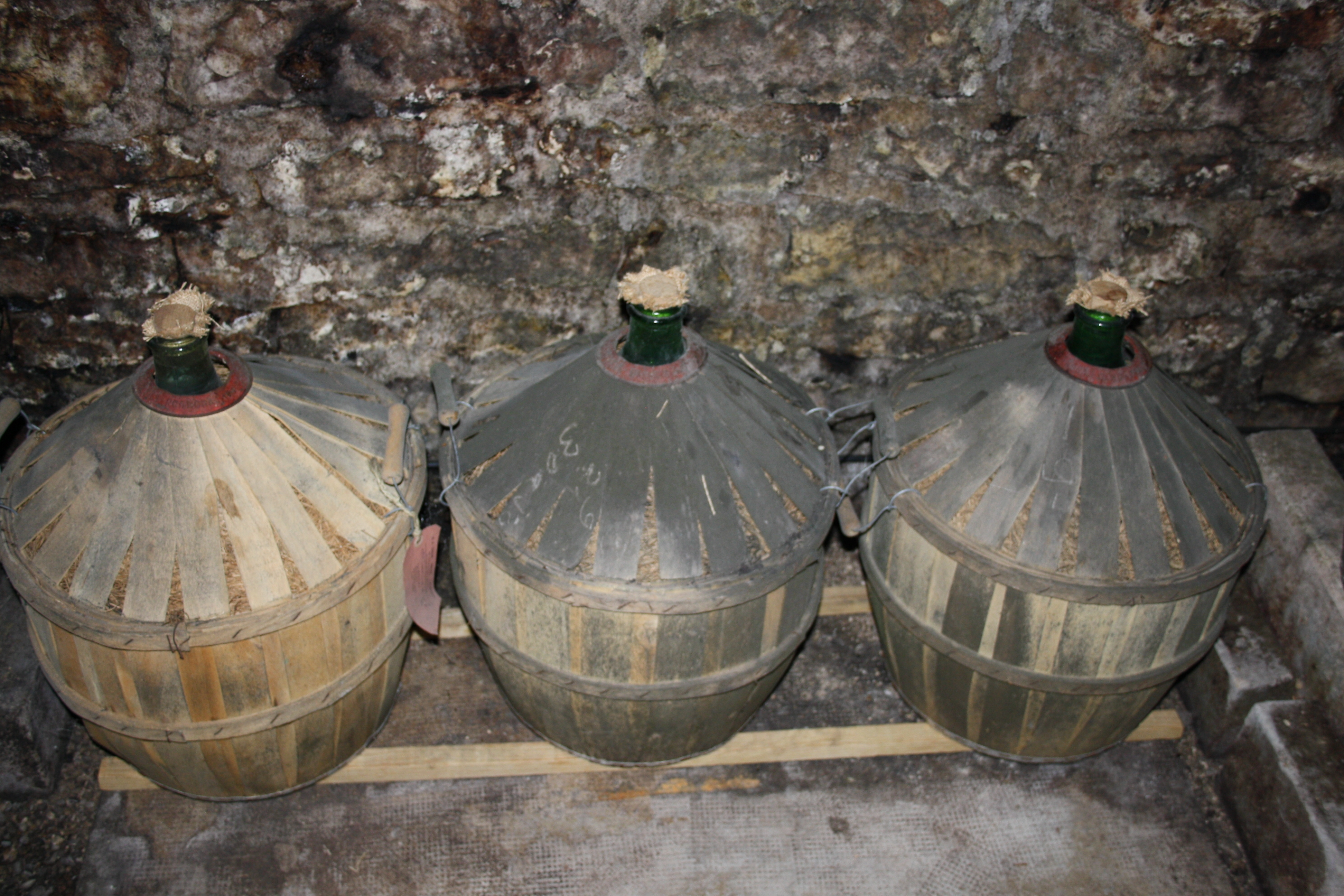 Glass jugs of Marc de Bourgogne