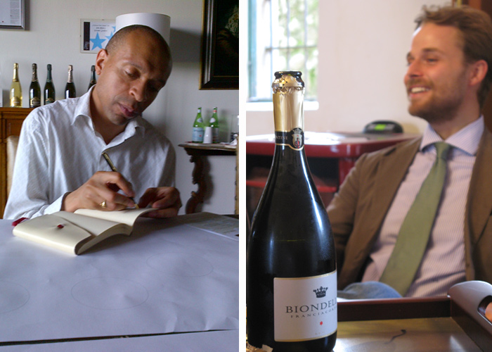 Right: Our Champagne and Sparkling wine expert Edwin Dublin on a visit to Franciacorta.  Right: Joska-Biondelli