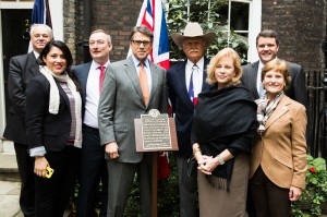 L-R Simon Berry, Ms Jamie Leija (UK Trade and Investment Assistant from British Consulate General, Houston), Mr Andrew Millar (British Consulate General, Houston), Governor Rick Perry, Mr Cliff Teinert, First Lady of Texas Mrs Anita Perry, Mr Mark Miner (from the Perry Team), Mrs Lynn Teinert