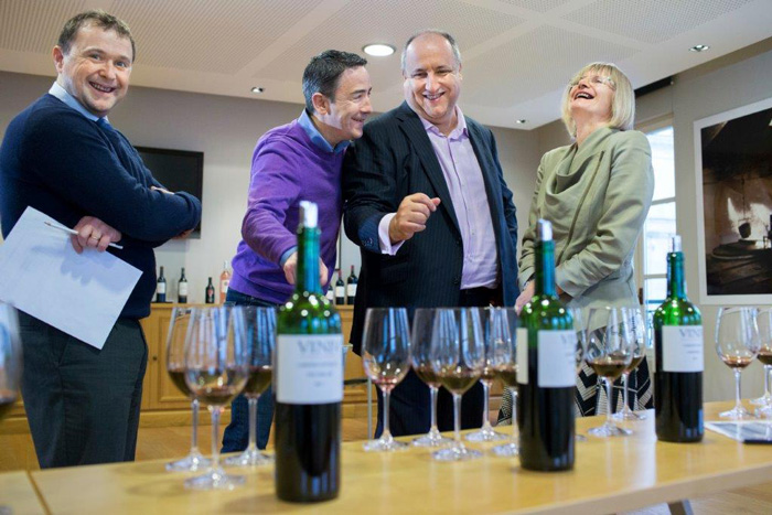 The (very serious) business of blending. From left: Eric Boissenot, Stephen Bolger, Simon Staples and Jancis Robinson MW