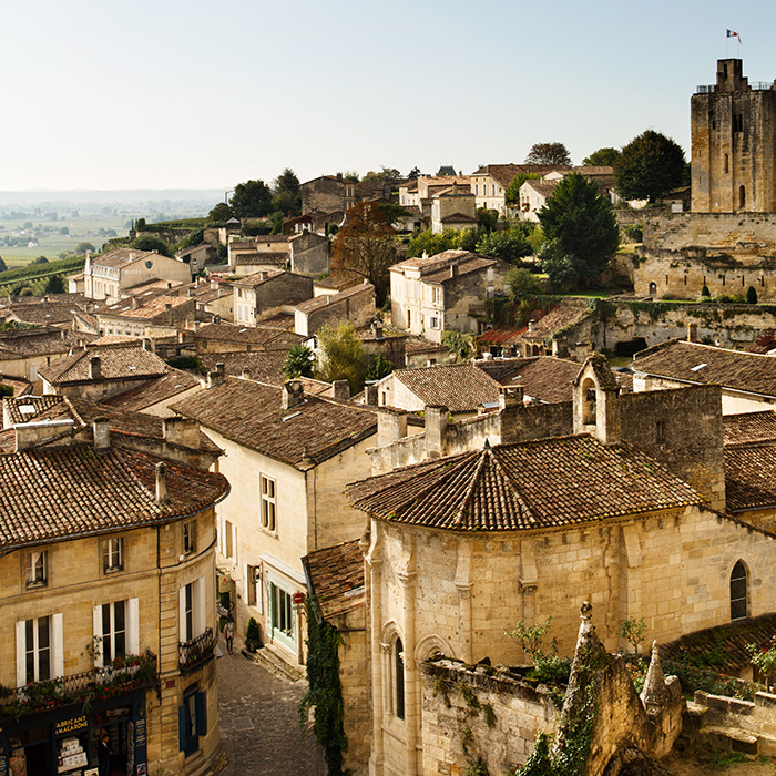 The town of St Emilion stands on a crest overlooking the wide vineyards of the Right Bank: the countryside here is considerably hillier than the Médoc and Graves districts of the Left Bank. Photograph: Jason Lowe
