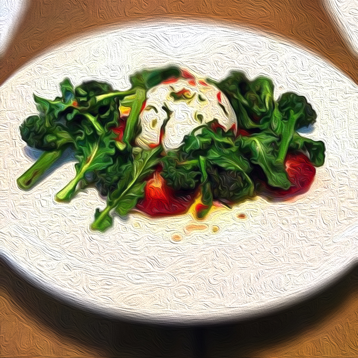 Sprouting broccoli with burrata and blood orange