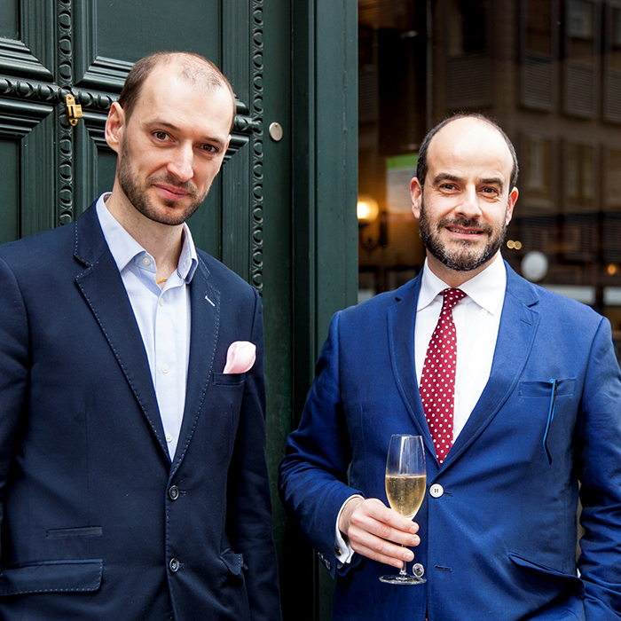 Valentin Radosav, Head Sommelier at Gymkhana, and Demetri Walters MW of Berry Bros. & Rudd