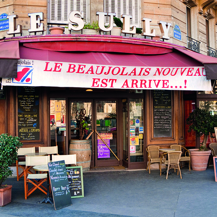 A Parisian bistro advertises the arrival of Beaujolais Nouveau
