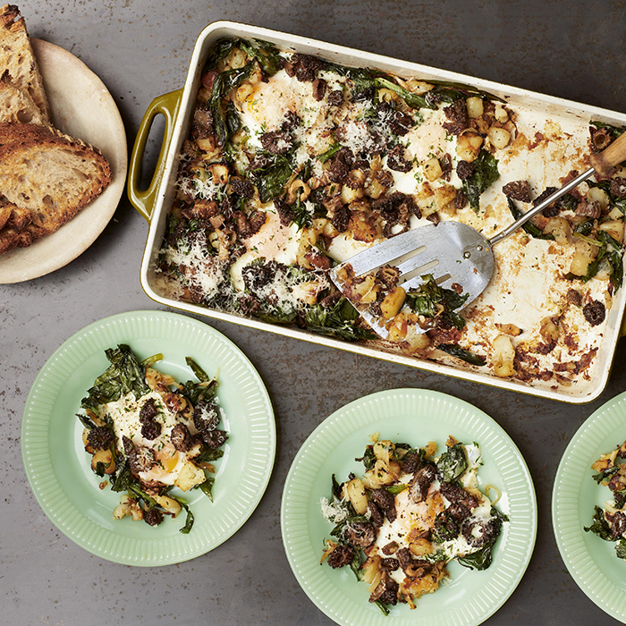 Stewart's wild garlic, morel and egg hash. Photograph: Joe Woodhouse