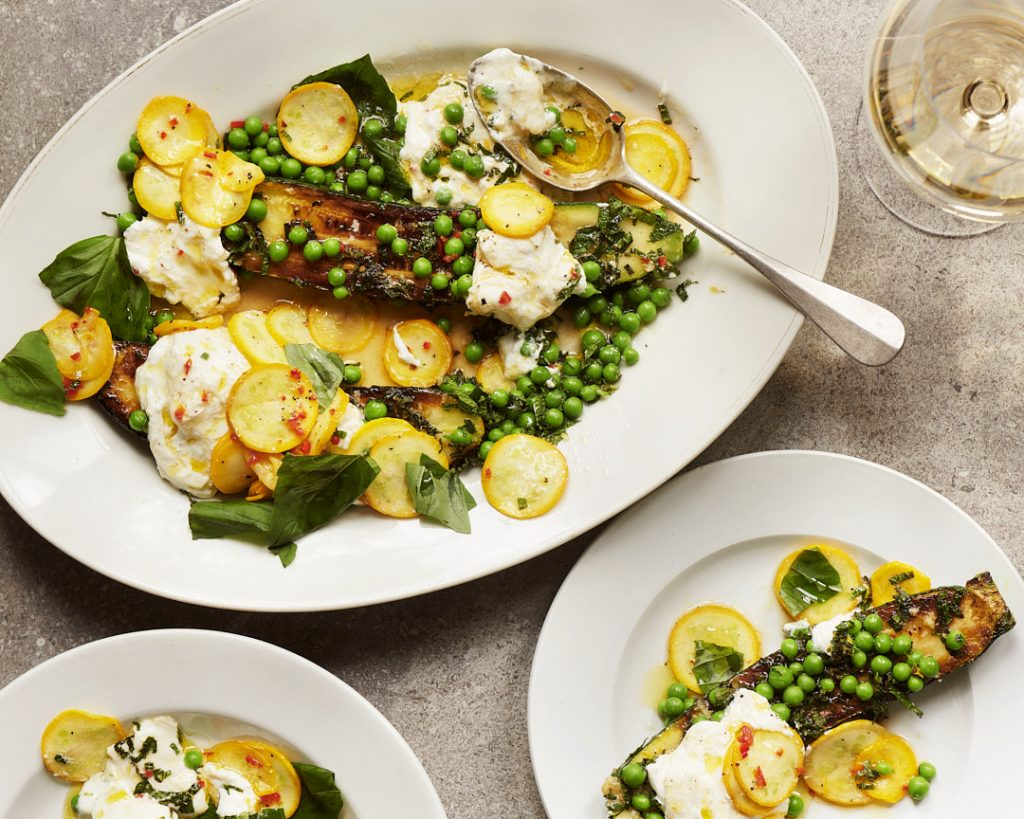 A summer starter recipe of creamy burrata, courgettes and peas