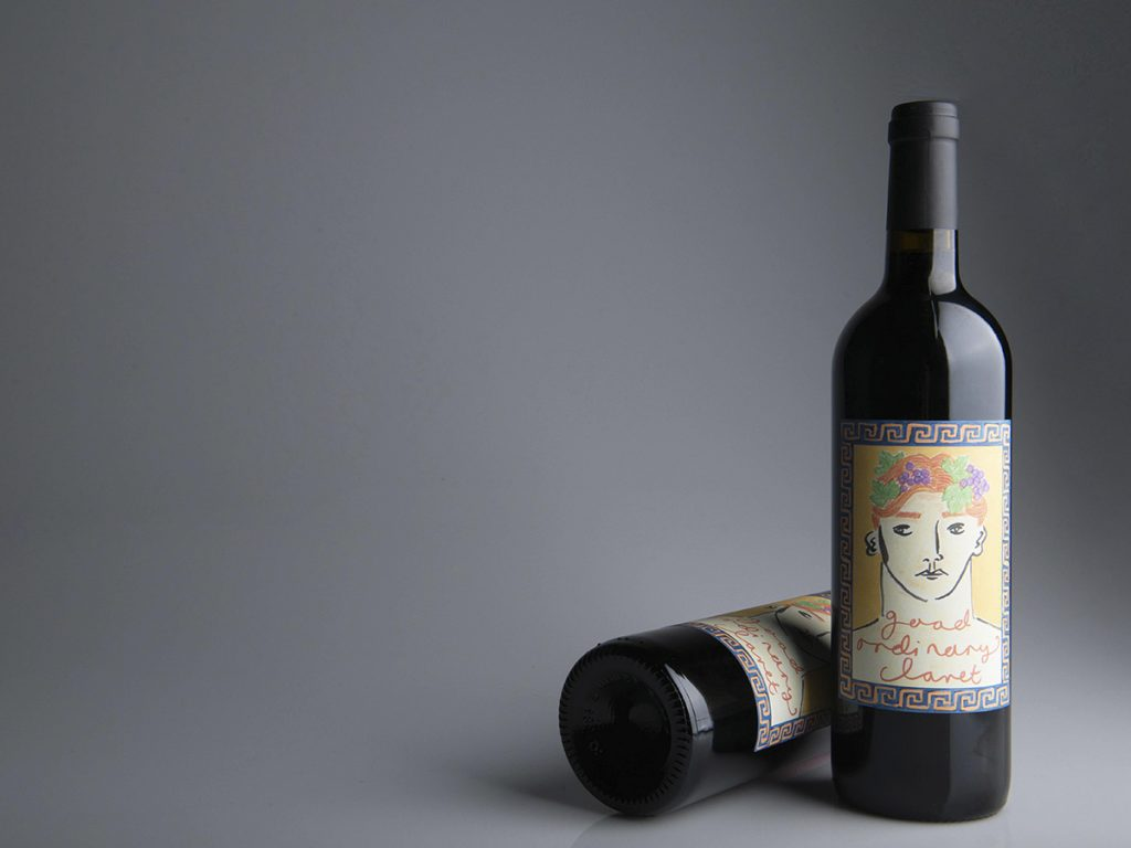 An image of our Good Ordinary Claret with a label design by Luke Edward Hall