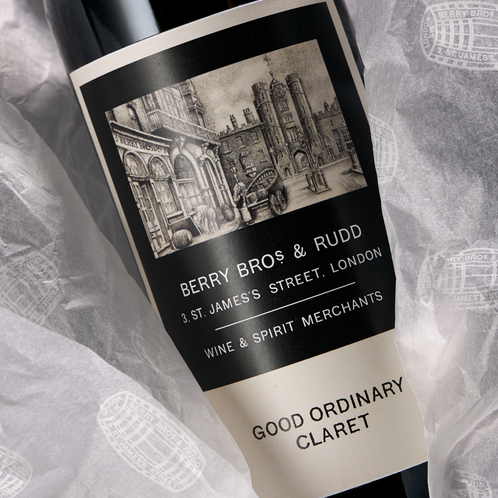 A bottle showing the label of our Good Ordinary Claret