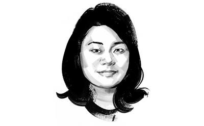 A head and shoulder black and white painting of Account Manager Akiko Sakai