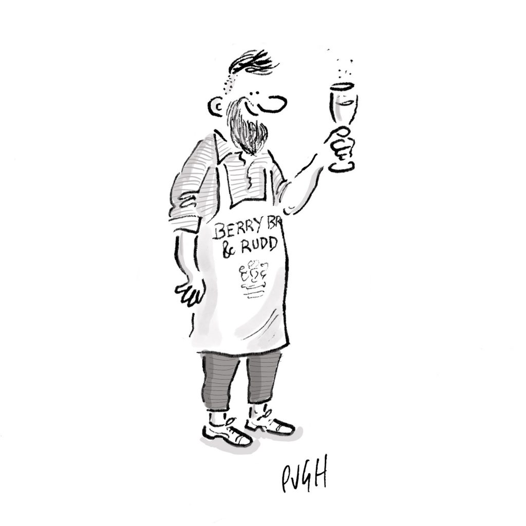 A cartoon by Pugh showing a member of Berry Bros. & Rudd staff holding up a glass of bubbles
