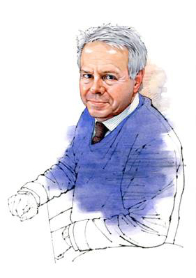 Mark Pardoe MW illustrated in pen and coloured ink.