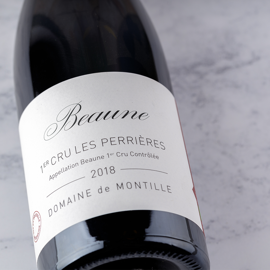 A bottle shot of the 2018 Beaune from Domaine de Montille which is currently available to taste in our London Shop