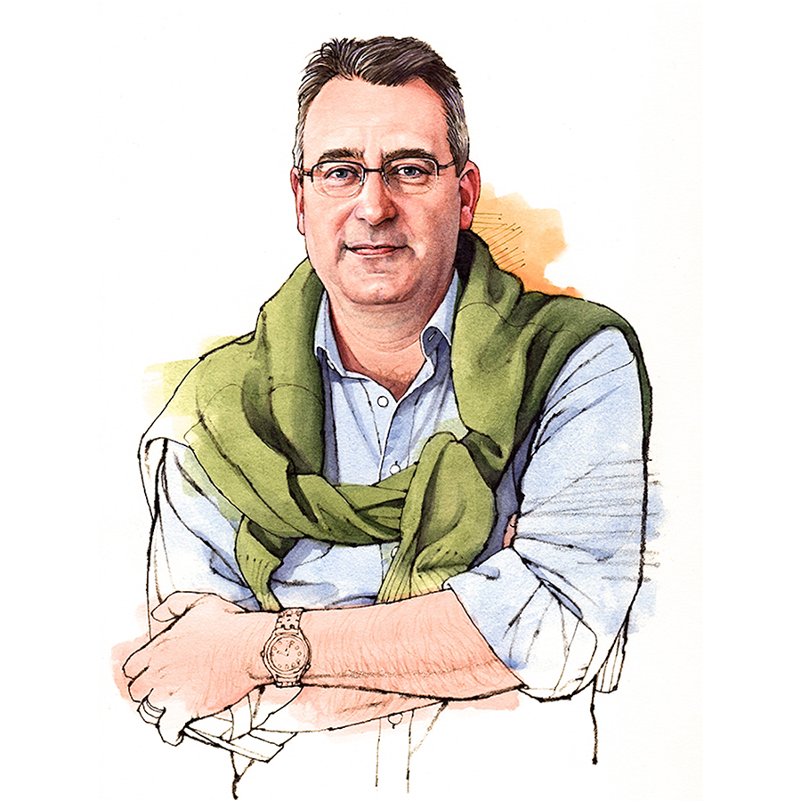 An illustration of Philip Moulin, our wine authentication expert