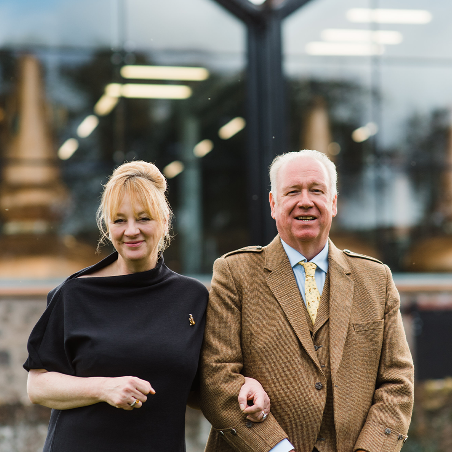 A photo of Helen and Drew McKenzie Smith at Lindores Abbey