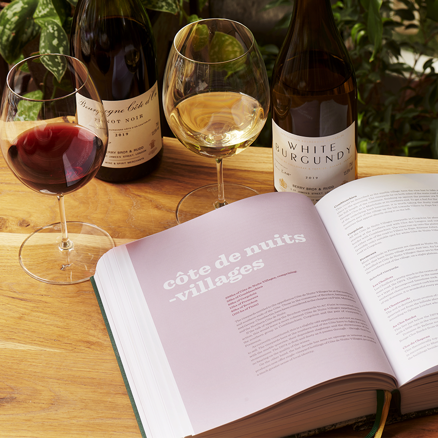 An image showing Inside Burgundy laid open beside a glass of red Burgundy and a glass of white Burgundy