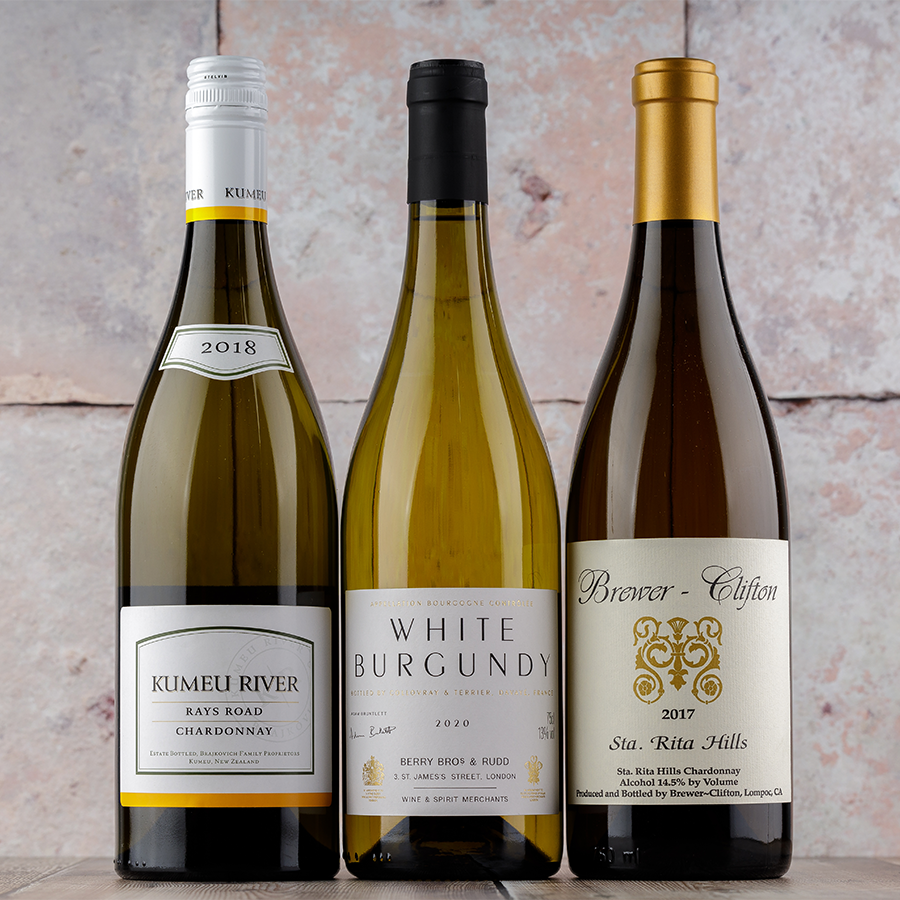 A line-up of oaked Chardonnays: Kumeu River, our Own Selection White Burgundy and Brewer-Clifton Sta. Rita Hills.